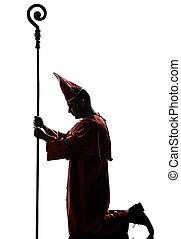 cardinale, silhouette, vescovo, uomo
