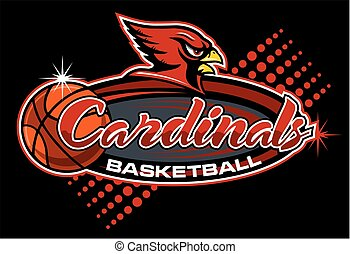 cardinals basketball team design with mascot for school, ...