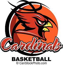 cardinals basketball team design with mascot head inside ...