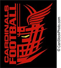 cardinals football team design with helmet and wings for ...