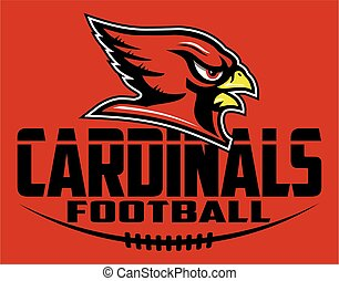 cardinals football team design with mascot head for school, ...