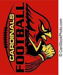 cardinals football team design with stitches and half mascot...