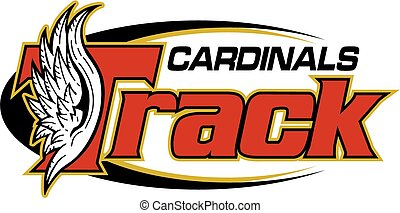 cardinals track and field team design with wings