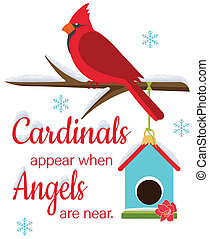Cardinlas Appear When Angels Are Near Perched Bird and Birdhouse Illustration with Clipping Path on White