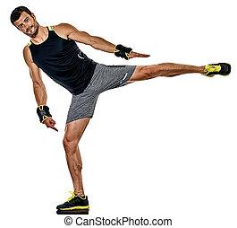 cardio, boxen, freigestellt, mann, übungen, fitness