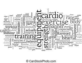 Cardio Exercise Equipment text background wordcloud concept
