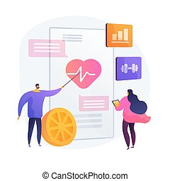 Cardio exercising and healthy lifestyle. Heart disease prevention, healthcare, cardiology. Healthy eating and workout. Health diagnostics. Vector isolated concept metaphor illustration.