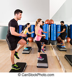 cardio, lábnyom, táncol, csoport, -ban, állóképesség, tornaterem, képzés