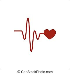 Cardio Link - Heartbeat vector icon with cardio link on the...
