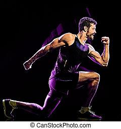 cardio, mann, übung, kampf, boxen, fitness, koerper, hintergrund, freigestellt, schwarz