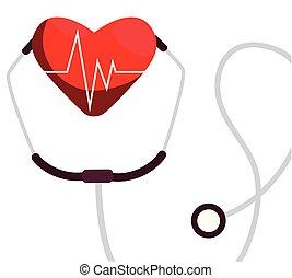 cardio, medico, stetoscopio, cuore