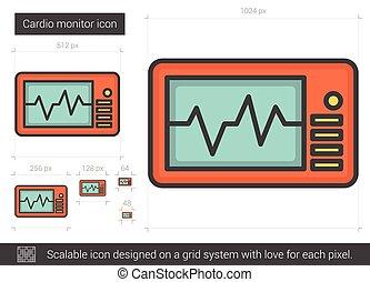 cardio, monitor, egyenes, icon.
