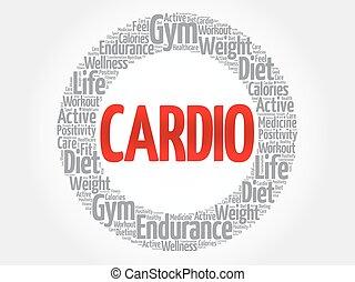 cardio, nuage, mot, fitness