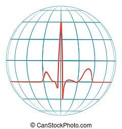 cardio, tierra de planeta, corazón, pulse., cardiogram., vector, línea, de, el, pulso, con, el, planeta
