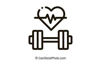 Cardio Training Biohacking animated black icon on white background