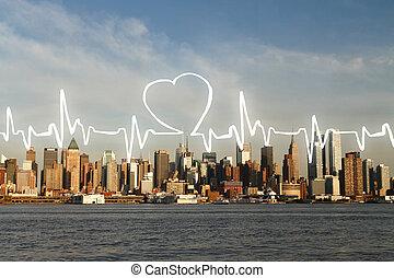 cardiogram, 在上, waterfront, 城市, 背景