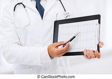 cardiogram, 男性の医者, 手を持つ