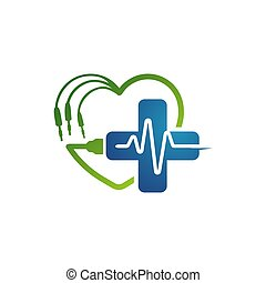 cardiogram beats of Heart monitor vector logo design. heart care app sign symbol