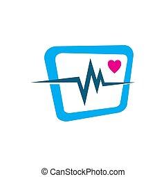 cardiogram beats of Heart monitor vector logo design sign symbol