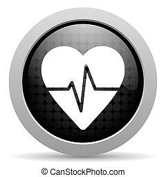 cardiogram black circle web glossy icon
