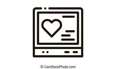 cardiogram gadget Icon Animation. black cardiogram gadget animated icon on white background