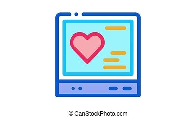 cardiogram gadget Icon Animation. color cardiogram gadget animated icon on white background