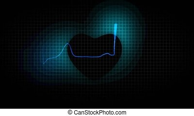 cardiogram healthy heart on Black H
