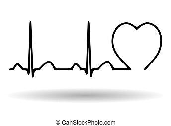 Cardiogram icon isolated on white background, vector illustration