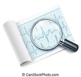 Cardiogram - illustration of cardiogram under magnifying...