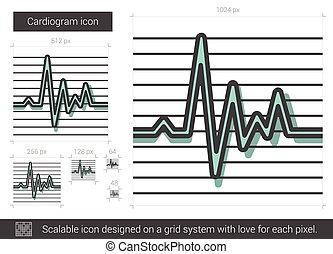 Cardiogram line icon.