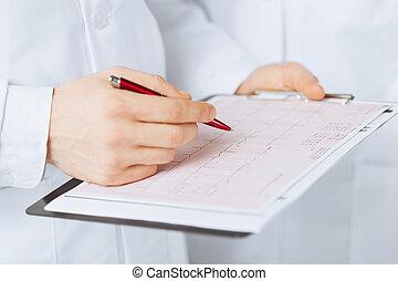 cardiogram, mannelijke arts, holdingshanden