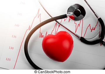 cardiogram, met, hart, en, stethoscope