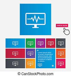 Cardiogram monitoring sign icon. Heart beats. - Cardiogram...
