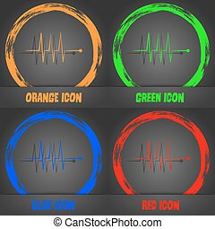 Cardiogram monitoring sign icon. Heart beats symbol. Fashionable modern style. In the orange, green, blue, red design. Vector