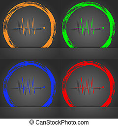 Cardiogram monitoring sign icon. Heart beats symbol. Fashionable modern style. In the orange, green, blue, red design.