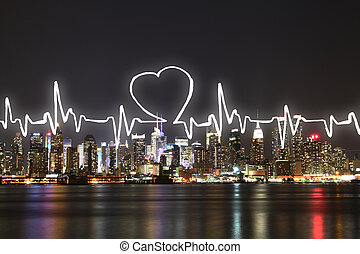 Abstract cardiogram on illuminated night city background