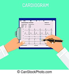 Cardiogram on clipboard in hands of doctor