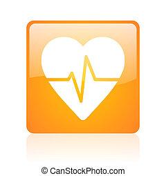 cardiogram orange square web glossy icon