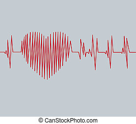 Cardiogram pulse trace and heart concept for cardiovascular medical exam.