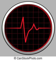 Cardiogram & Radar - Radar tecnology. Electronic cardiogram...