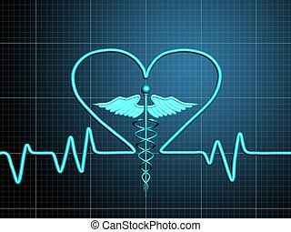 cardiogram - Heart cardiogram with heart