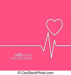 Cardiogram with heart. Logo Cardiology Medical Center....