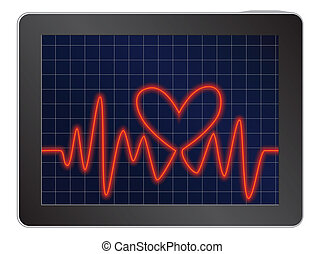 cardiogram with heart
