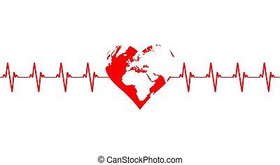cardiograma, de, tierra de planeta, en, el, forma, de, un, corazón rojo, aislado, blanco, fondo.