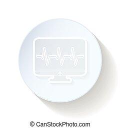 cardiograma, magra, linhas, monitor, ícone