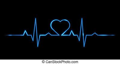 cardiograma, vetorial, -, amor
