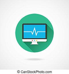 cardiograma, vetorial, exposição, ícone