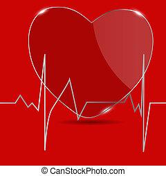 cardiogramma, vettore, heart., illustration.