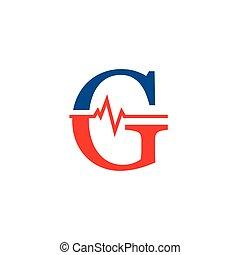 cardiogramme, g, vecteur, logo, initiale, lettre