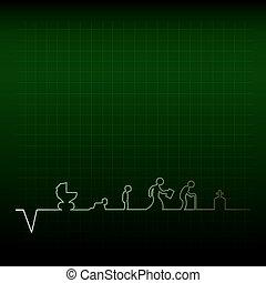 cardiogramme, humain, life.